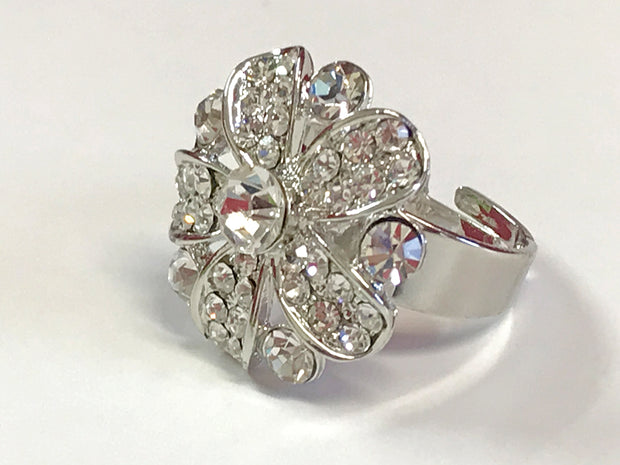 Silver Floral Design Ring