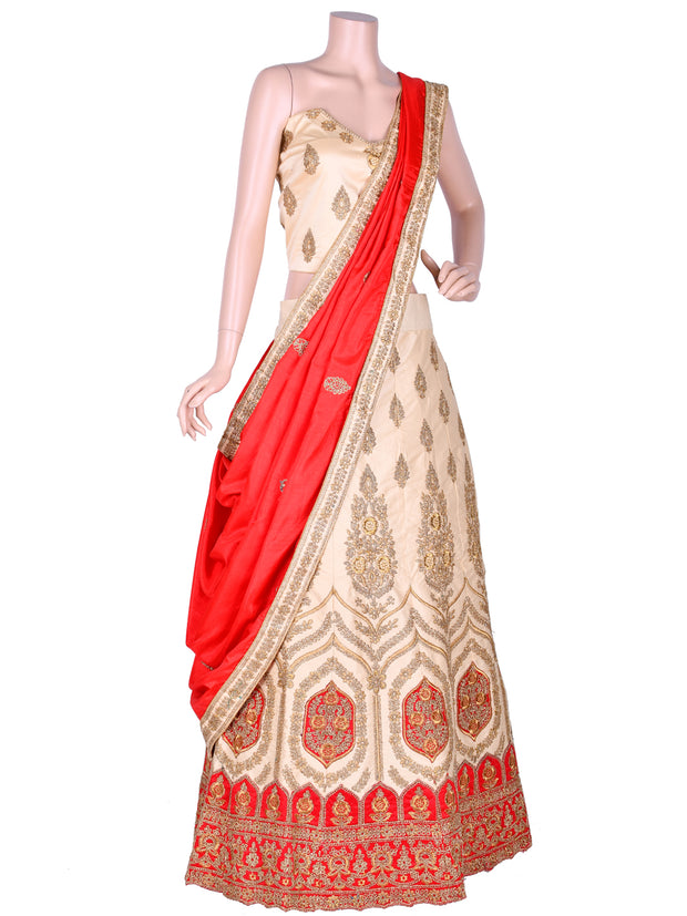 Beige & Red Silk Embroidered Unstitched Lehenga Choli
