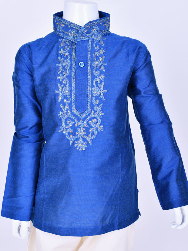 Royal Blue Embroidered Silk Kurta