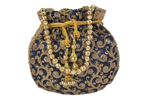Navy With Gold Embroidered Potli Bag