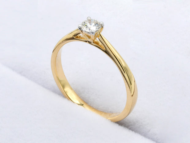 18ct Gold 0.18ct Solitaire Diamond Ring
