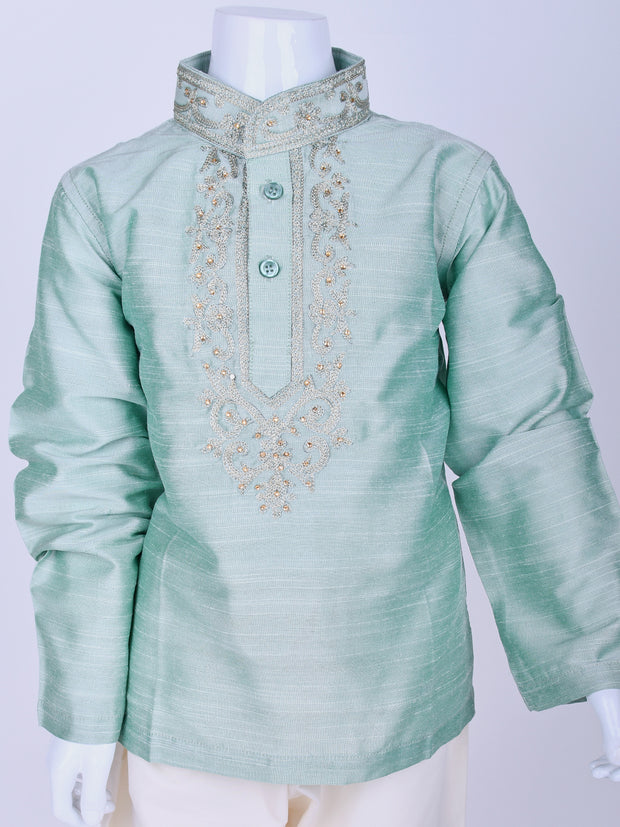 Pista Green Embroidered Silk Kurta