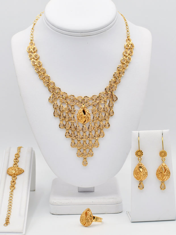 21ct Gold Necklace Set With Bracelet & Ring