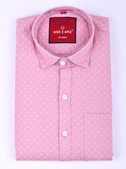 Mens Cotton Printe Shirt In Pale Pink & White