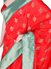 Red Silk Embroidered Saree