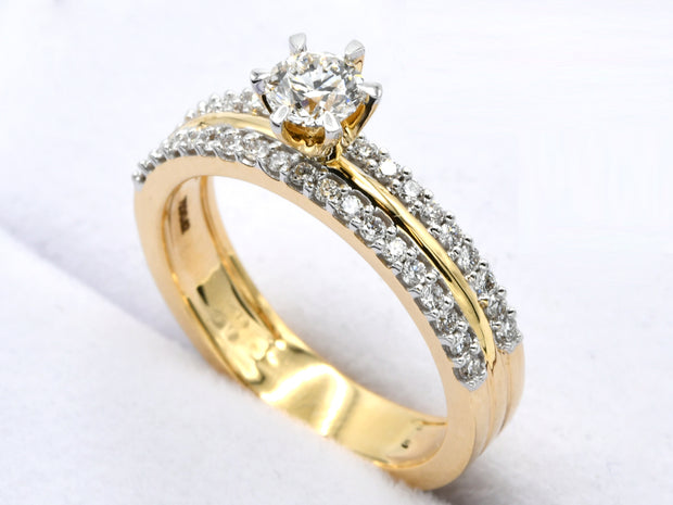 18ct Gold 0.618ct Cathedral Diamond Ring