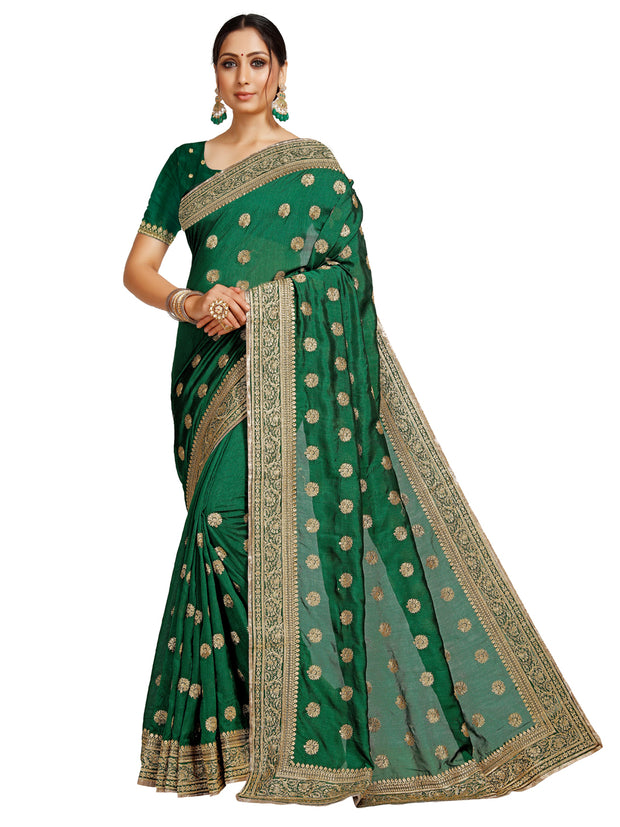 Rinkoo Bottle Green Saree