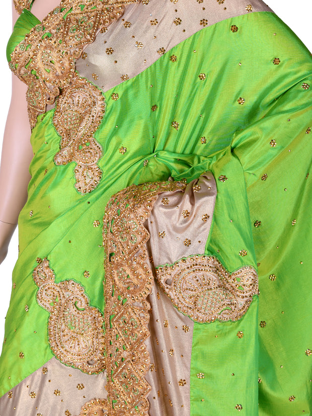 Lime Green Silk Cutwork Saree
