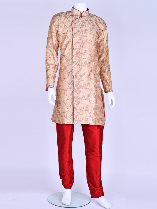 Beige Silk Embroidered Kurta Pyjama