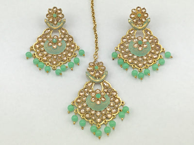 Pista Green & Gold Costume Earrings With Tikka