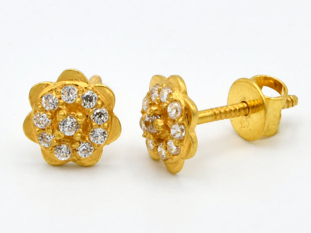 22ct Gold CZ Stud Earrings