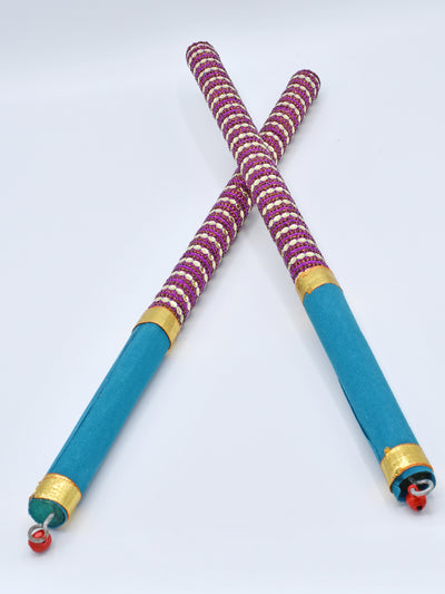 Purple & Teal Garba Wooden Dandiya