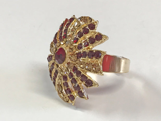 Maroon With Gold Fancy Top Ring