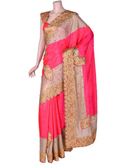 Hot Pink Silk Cutwork Saree