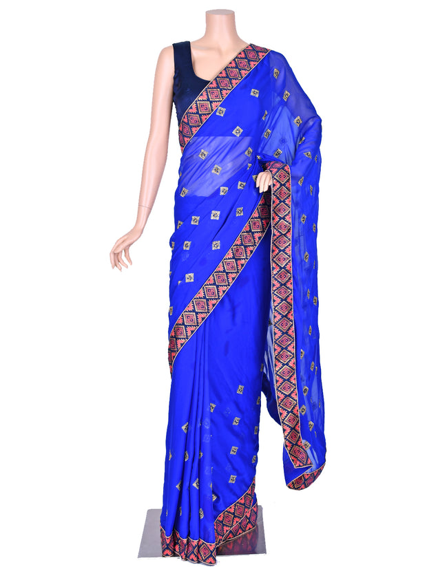 Blue Soft Georgette Saree