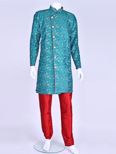 Teal Silk Embroidered Kurta Pyjama