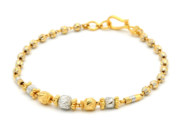 22ct Gold Two Tone Ladies Ball Bracelet
