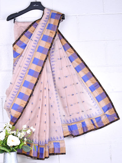 Cotton Embroidered Net Saree In Blue