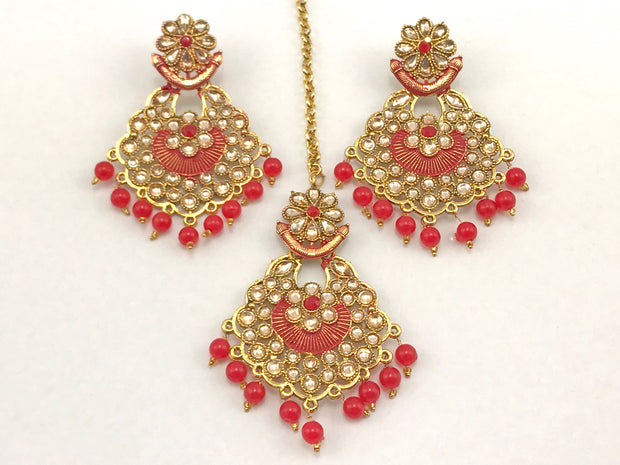 Red & Gold Costume Earrings With Tikka