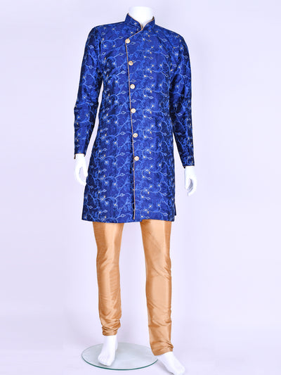 Navy Blue Silk Embroidered Kurta Pyjama