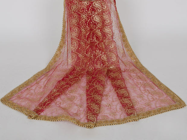 Maroon Netting Embroidered Dupatta