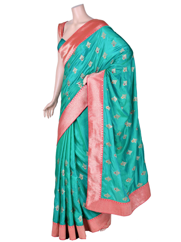 Turquoise Silk Embroidered Saree