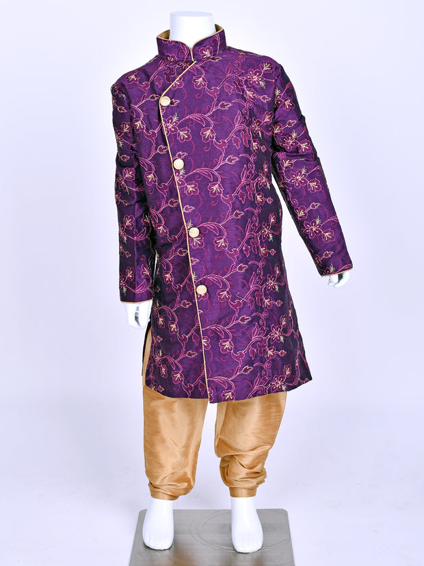 Purple Silk Embroidered Kurta Pyjama