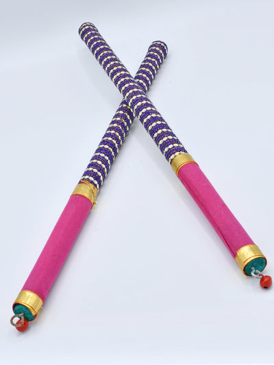 Purple & Pink Garba Wooden Dandiya