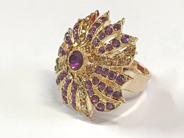 Purple With Gold Fancy Top Ring