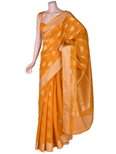 Cotton Butta Saree In Mustard