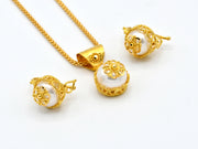 22ct Gold Pearl Pendant Earrings Set