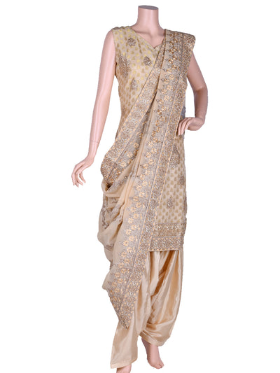 Beige Brocade Embroidered Patiala Suit