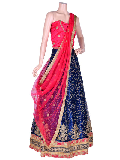 Navy Blue & Hot Pink Nett Embroidered Unstitched Lehenga Choli