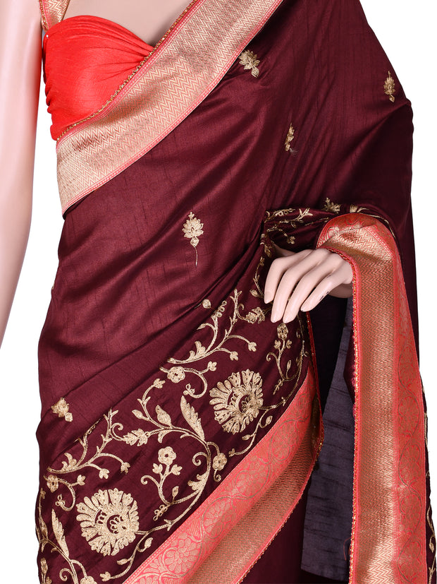 Wine Silk Embroidered Bordered Saree
