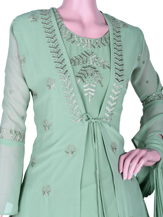 Stunning Georgette Flair Churidar In Fern Green