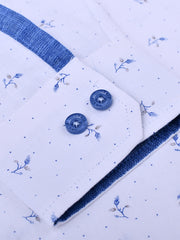 Mens Cotton Printed Slim-Fit Shirt In White & Blue
