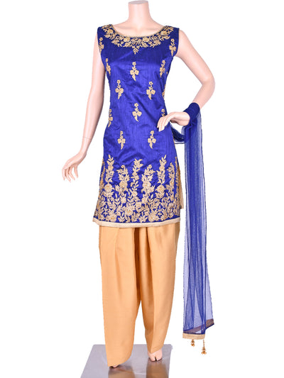 Blue Silk Embroidered Patiala Suit