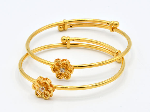 22ct Gold 2 Piece Expandable CZ Baby Bangles