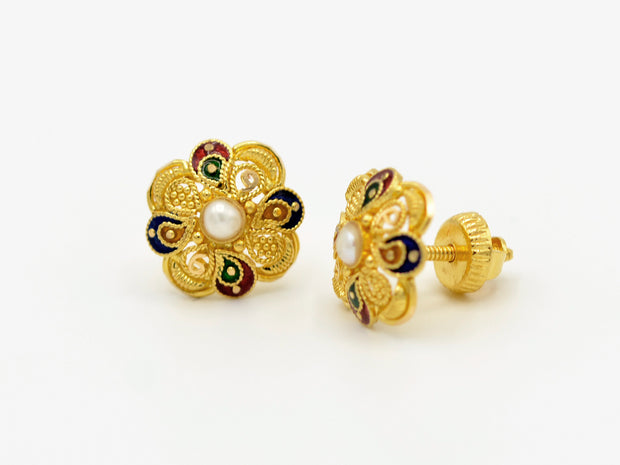 22ct Gold Pearl Mina Stud Earrings