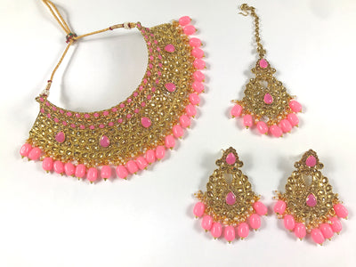Gold and Pink Pearl Choker Costume Necklace Set
