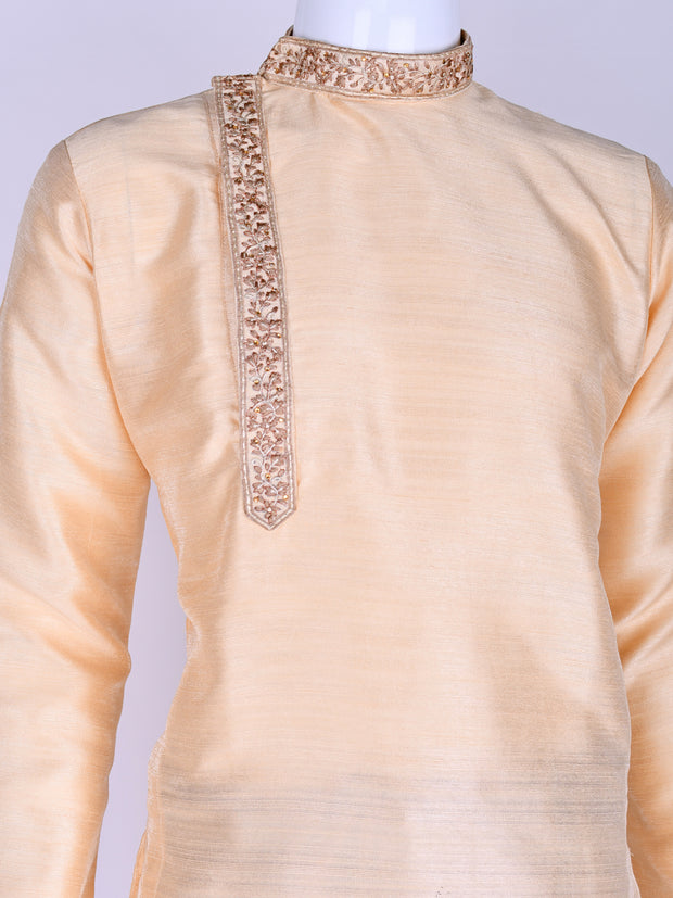 Beige Embroidered Kurta Pyjama