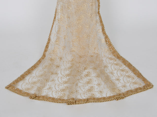 White Netting Embroidered Dupatta