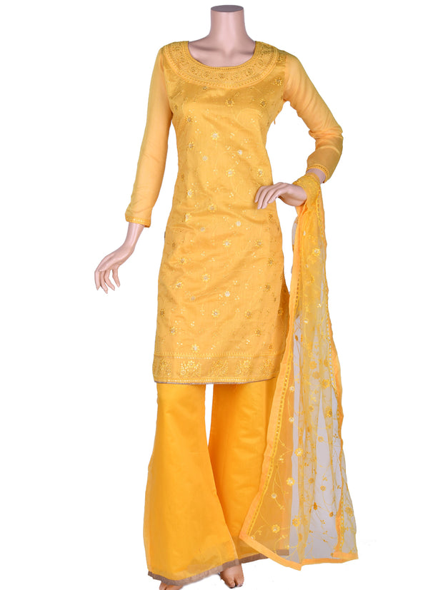 Yellow Cotton Embroidered Palazzo Suit