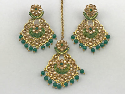 Green & Gold Costume Earrings With Tikka