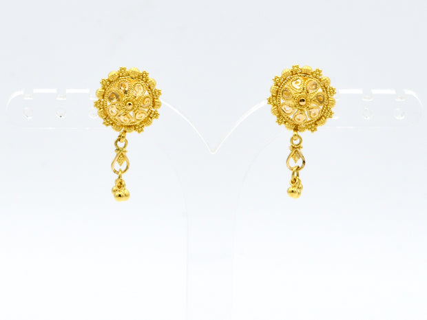 22ct Gold Earrings With Ball Hanging
