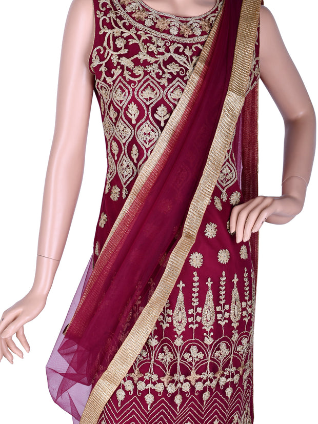 Embroidered Straight Churidar in Wine