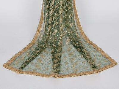 Bottle Green Netting Embroidered Dupatta