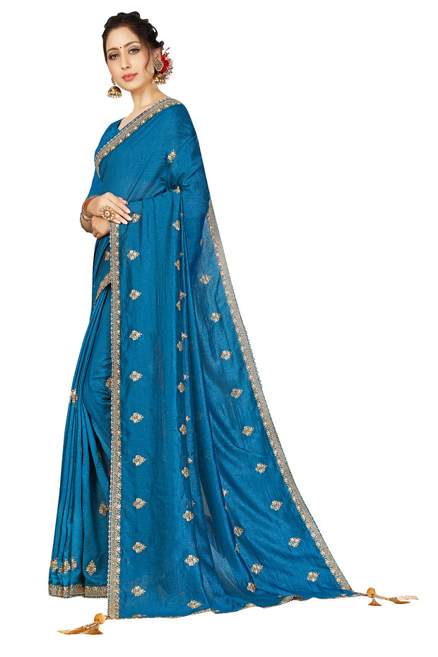 Sana Silk Blue Saree