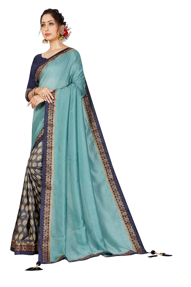 Leema Teal Green Silk Saree