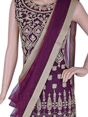 Embroidered Straight Churidar in Purple